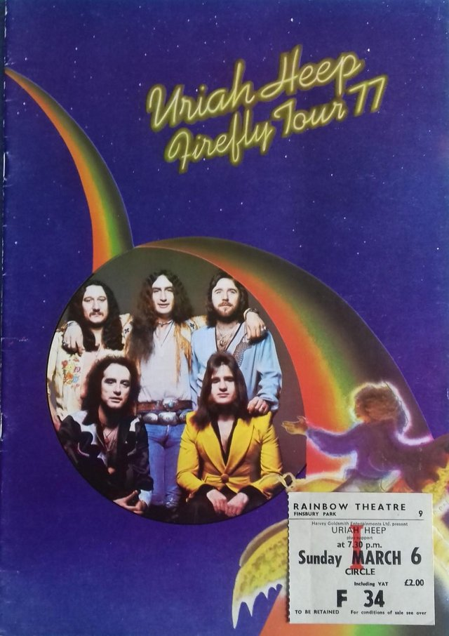 Preview of the first image of 1977 Uriah Heep 'Firefly' UK Tour Programme +concert stub..