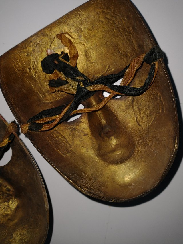 Image 2 of Pair of Brass Theatrical Masks.