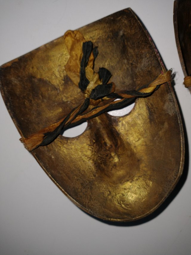 Image 3 of Pair of Brass Theatrical Masks.