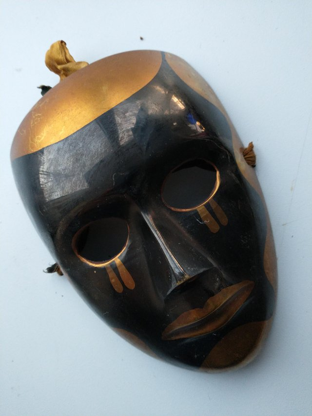 Image 4 of Pair of Brass Theatrical Masks.