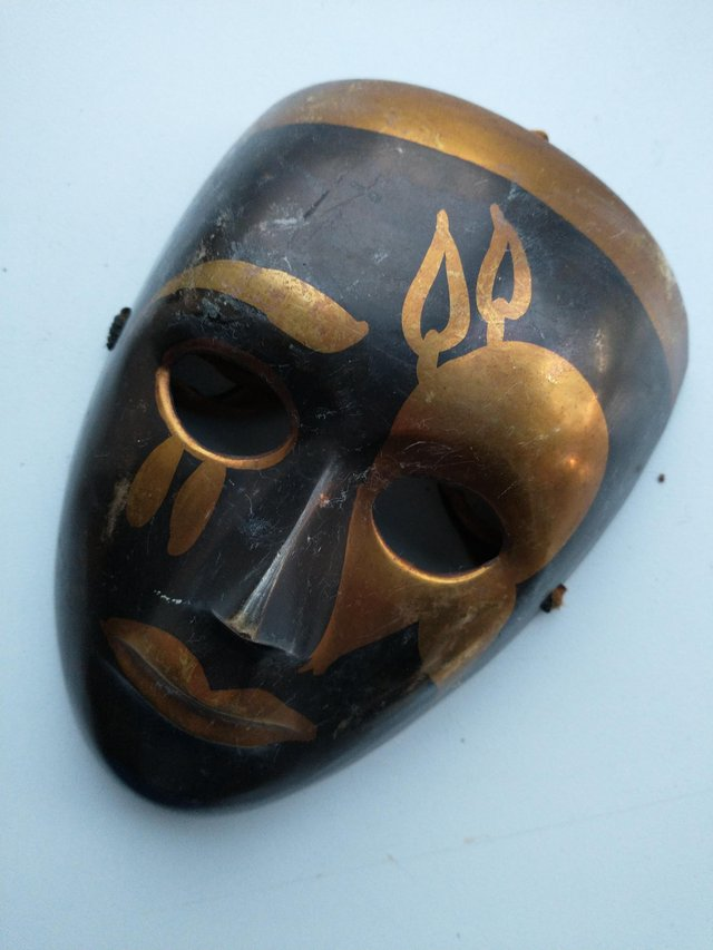 Image 5 of Pair of Brass Theatrical Masks.
