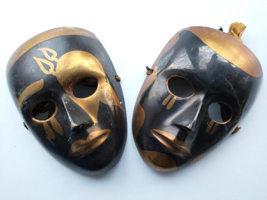 Preview of the first image of Pair of Brass Theatrical Masks..