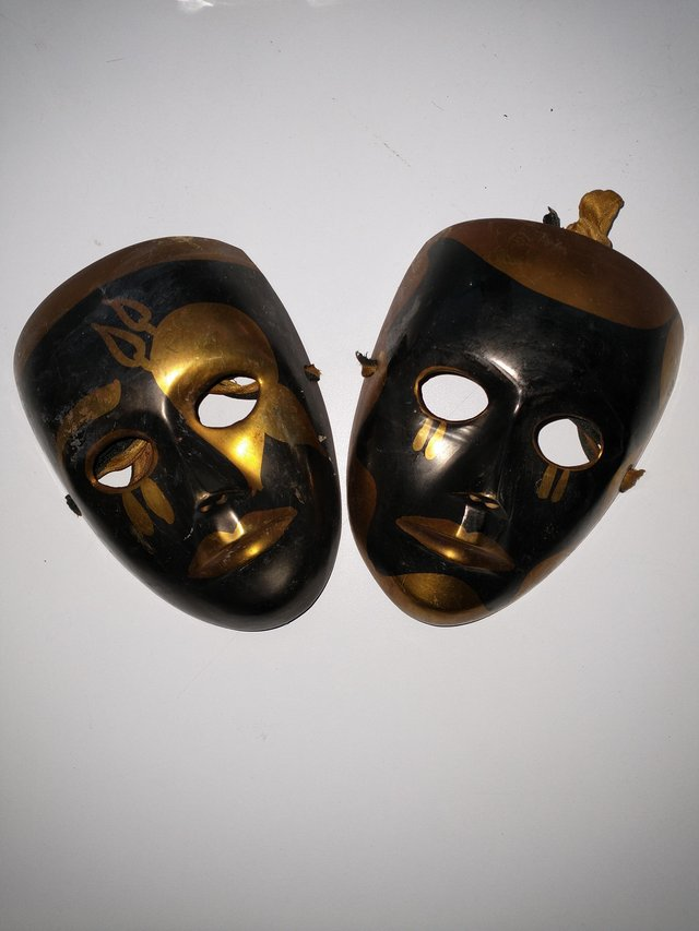 Image 6 of Pair of Brass Theatrical Masks.