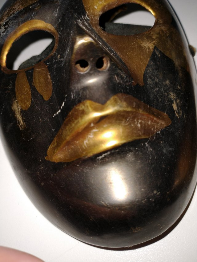 Image 7 of Pair of Brass Theatrical Masks.