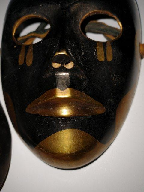 Image 8 of Pair of Brass Theatrical Masks.
