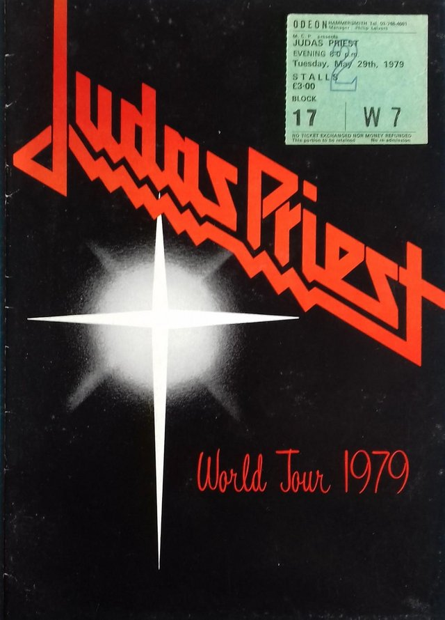 Preview of the first image of 1979 Judas Priest World Tour Programme + concert stub..