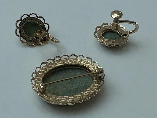 Image 2 of Vintage screwback stone earrings brooch 14k gold filled Amco