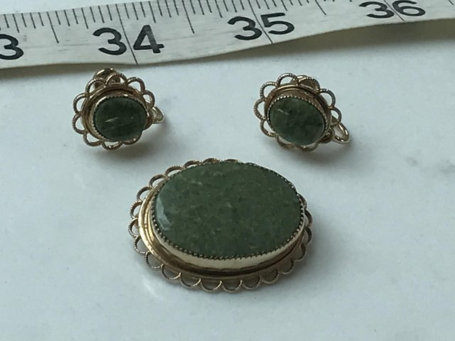 Preview of the first image of Vintage screwback stone earrings brooch 14k gold filled Amco.