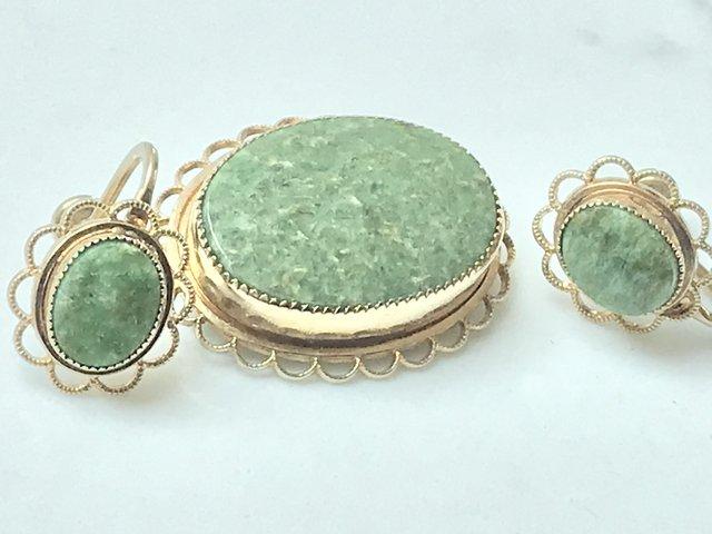 Image 3 of Vintage screwback stone earrings brooch 14k gold filled Amco