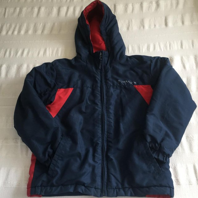 Image 2 of Animal brand navy/red padded jacket, hood. 7-8 years.