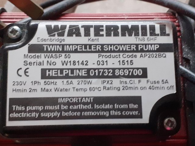 Preview of the first image of Watermill Shower Pump - used but good order.
