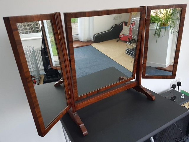 Image 3 of Victorian / Edwardian Wood Framed Self Standing Mirror With