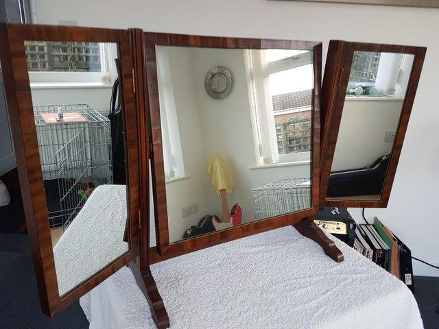Image 7 of Victorian / Edwardian Wood Framed Self Standing Mirror With