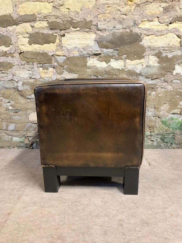 Image 3 of Tan Leather RARE Rustic Tub Chair