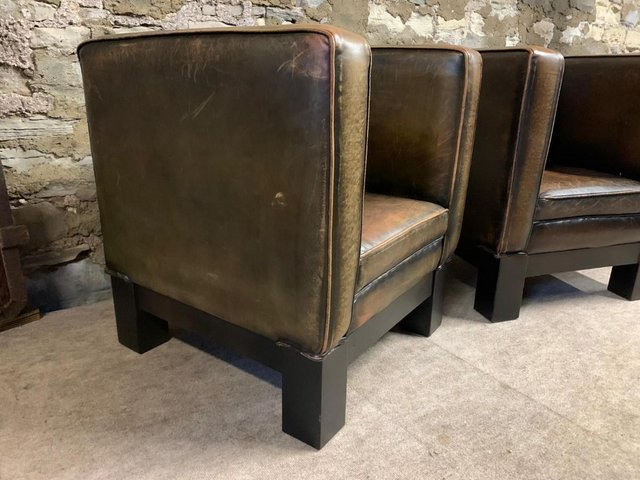 Image 5 of Tan Leather RARE Rustic Tub Chair