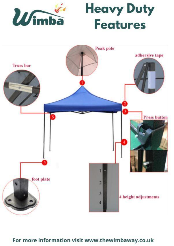 Image 6 of New HEAVY DUTY 3x3m Popup Gazebo Marquee Canopy – ALL sides
