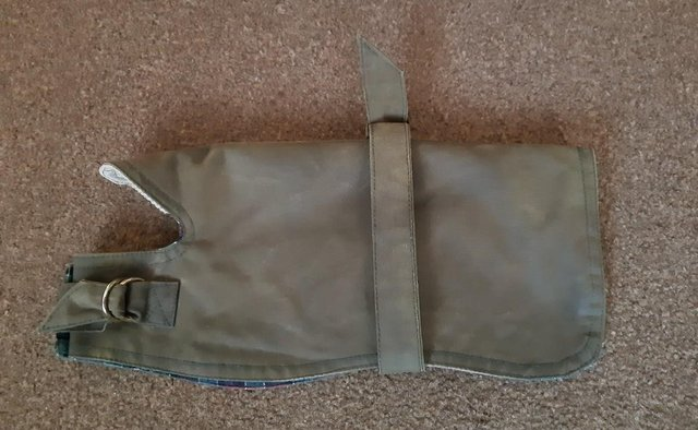Image 2 of Small Country Mun Olive Green Waxed Dog Coat   BX14