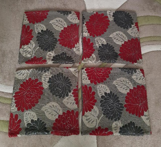 Preview of the first image of 4 Red/Black/Grey Cushion Covers     BX28.