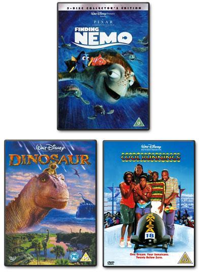 Preview of the first image of Disney 3 DVDs:  Finding Nemo + Dinosaur + Cool Runnings.