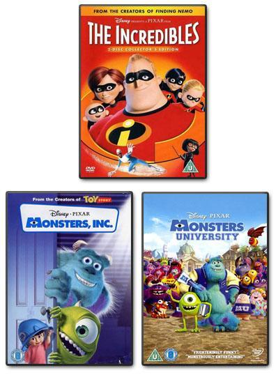 Preview of the first image of Disney 3 Pack *The Incredibles *Monsters Inc. *Monsters Uni.