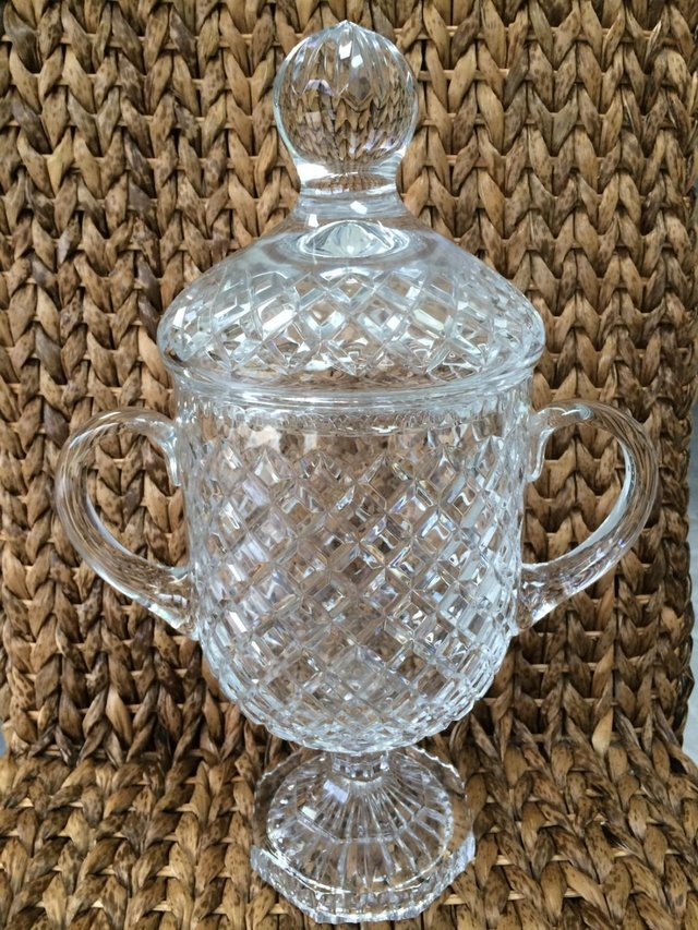 Preview of the first image of Ornamental Cut Glass Urn with matching lid.
