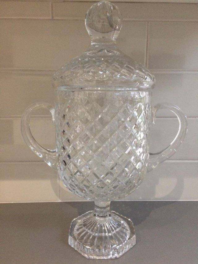 Image 3 of Ornamental Cut Glass Urn with matching lid
