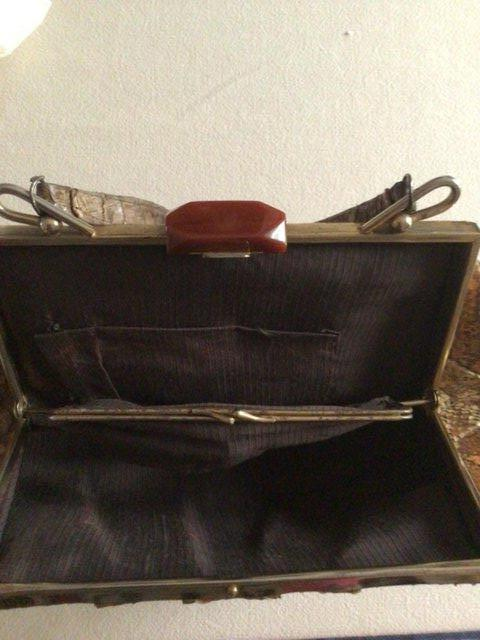 Preview of the first image of Vintage 1940's Snakeskin handbag.