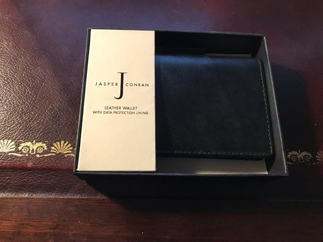 Image 3 of Black leather wallet by Jasper Conran; data protection lined