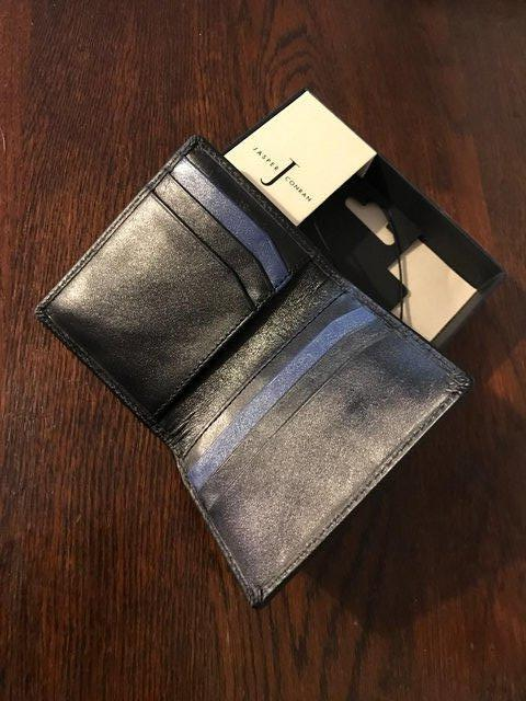 Image 2 of Black leather wallet by Jasper Conran; data protection lined
