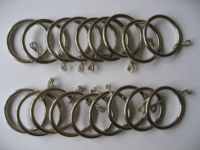 Preview of the first image of 18 Silver Metal Curtain Rings 36mm / 43mm Brand New Inner Di.