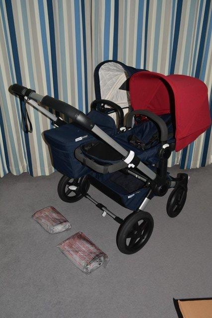 Preview of the first image of NEW Bugaboo DONKEY3 DUO Pram Pushchair Navy Blue + Ruby Red.