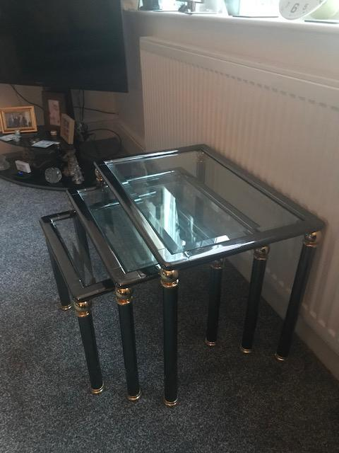 Image 9 of Glass top coffee table and Matching Nest of 3 tables