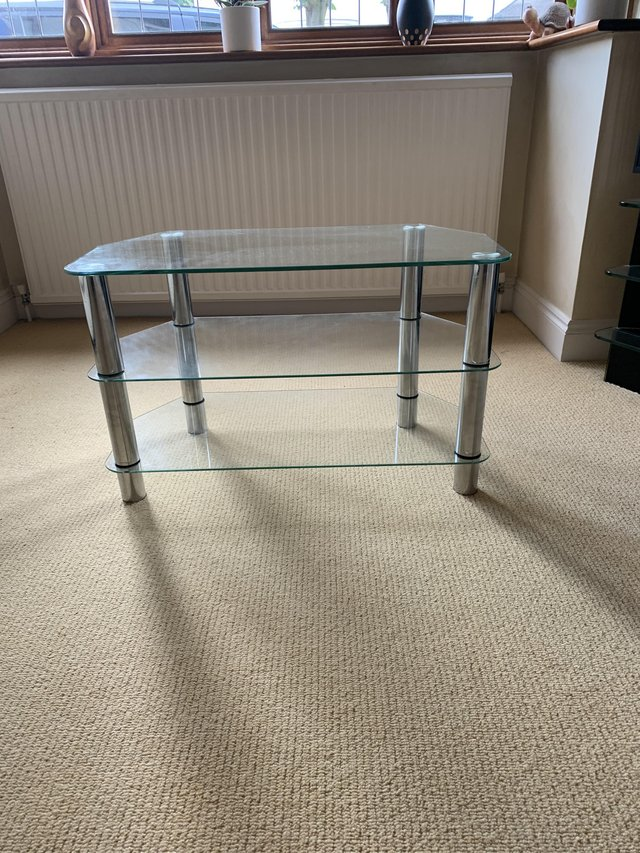 Preview of the first image of Glass TV Stand with three levels.