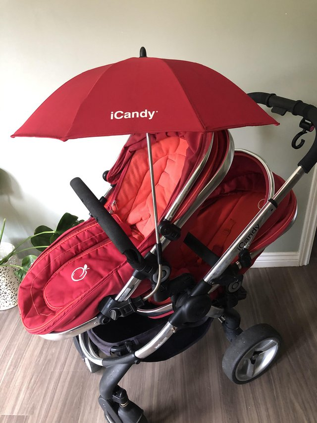 Image 2 of ICandy Peach Double/Single Pushchair Buggy with Accessories