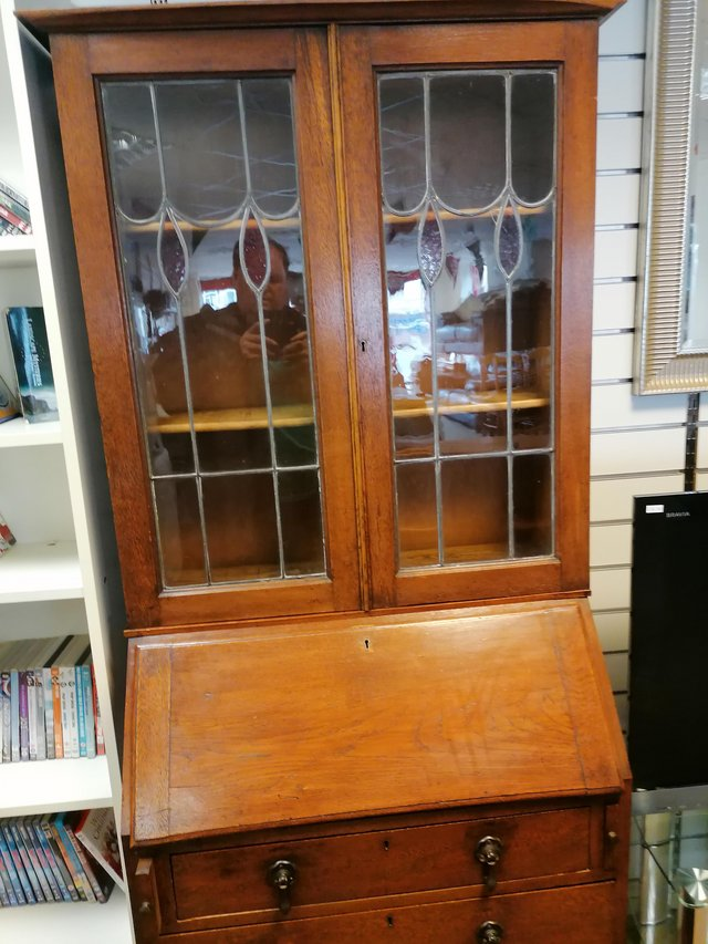Preview of the first image of Arts craft bureaux Bookcase solid oak leaded glass top.