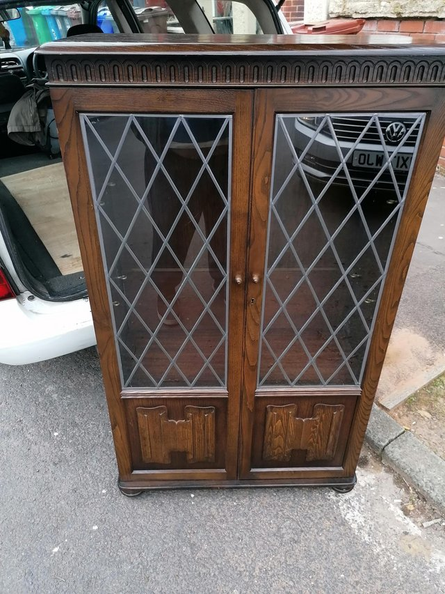 Image 3 of A good oak leaded glass fronted bookcase in priory manner