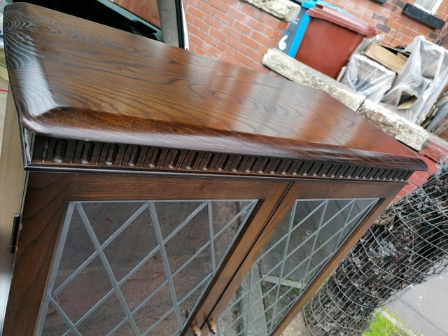 Image 4 of A good oak leaded glass fronted bookcase in priory manner