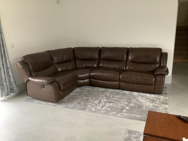 Image 2 of Brown leather reclining corner sofa