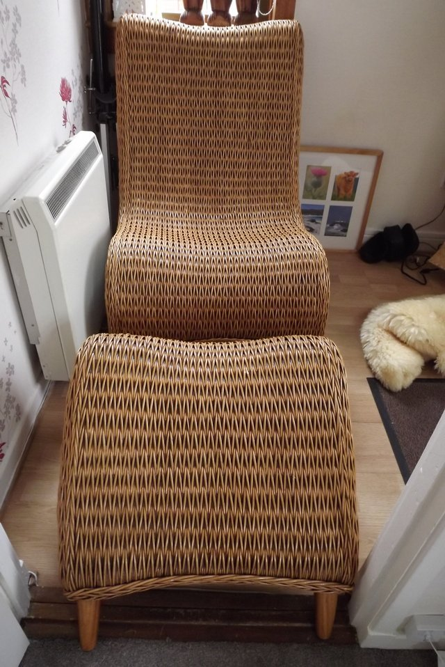 wicker chair and foot stool