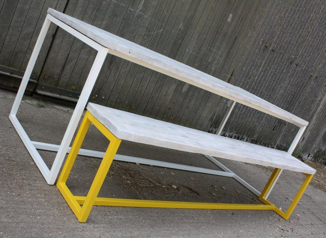 yellow and white table and bench made by salvation furniture