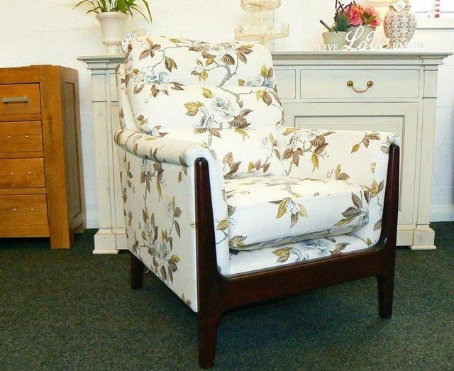 white flower patterned armchair